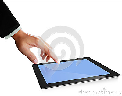 Hands are pointing on touch screen ,touch- tablet