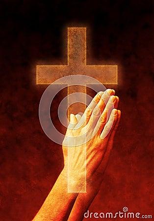 Free Hands Prayer Cross Stock Photos - 9645913