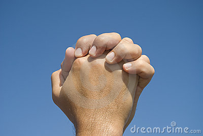 Hands in prayer gesture