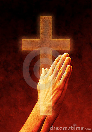 Free Hands Prayer Praying Cross Christian Stock Photos - 9645913