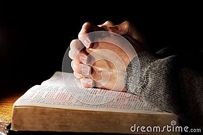 Hands Praying Bible Man