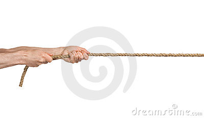 Hands pull a rope.