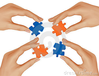 Hands and puzzle. Business concept.