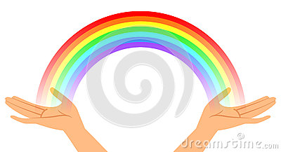 Hands with rainbow