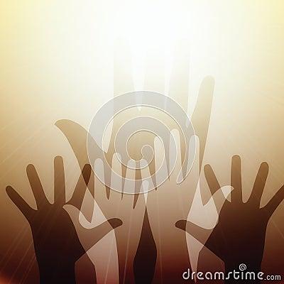 Hands reaching for light