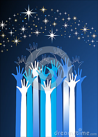 Hands Reaching For The Stars Stock Images - Image: 26106834