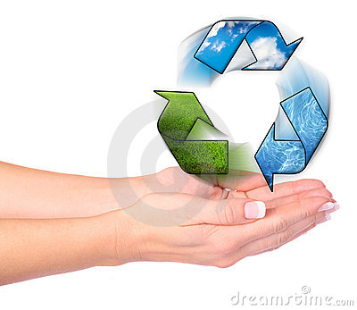 Hands and recycling symbol