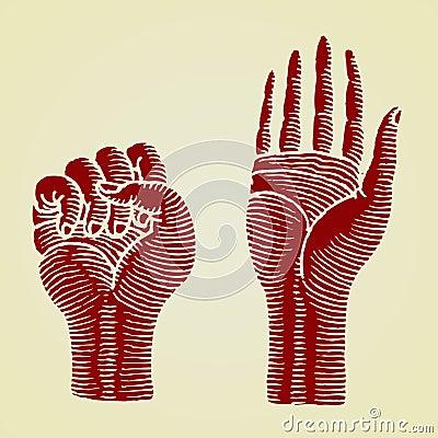 Hands red original woodcut