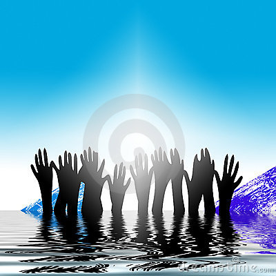 Free Hands Rising Out Of Water Stock Images - 3913314