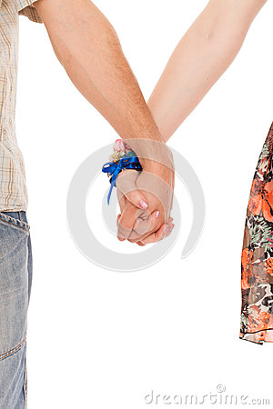 Hands of romantic caucasian couple