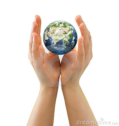 Hands sheltering tiny globe facing Asia
