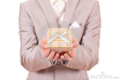 Hands stretched with a present box