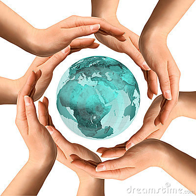 Hands  Surrounding the Earth
