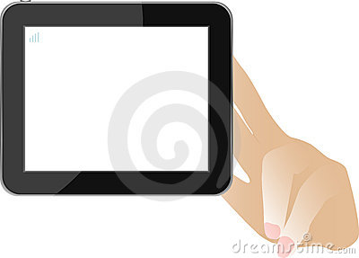 Hands with tablet computer isolated on white