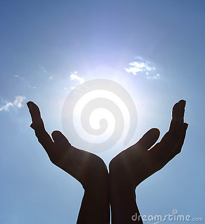 Hands take the power of sun