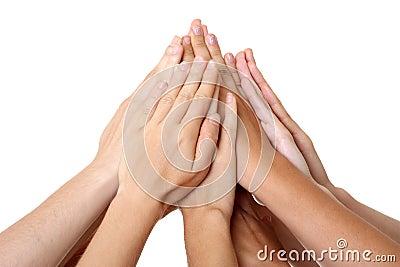 Hands teamwork success union