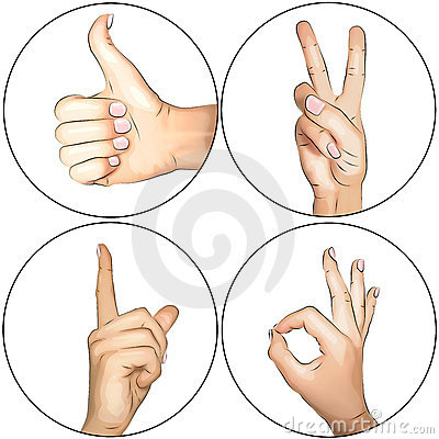 Hands: Thumbs up, OK, Peace, Attention