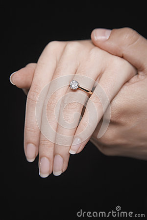 Engagement Ring On A Black Woman S Hand