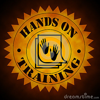 Hands On Training Symbol in Gold On Black