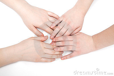Hands of two young girls