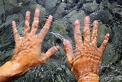 Hands underwater river water wavy shapes