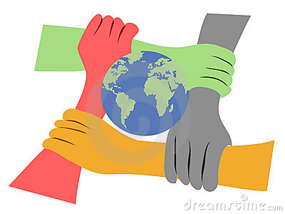 Hands united the earth