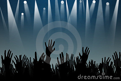 Hands up silhouettes at a concert