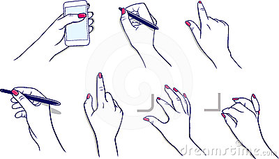 Hands using media player, stylus