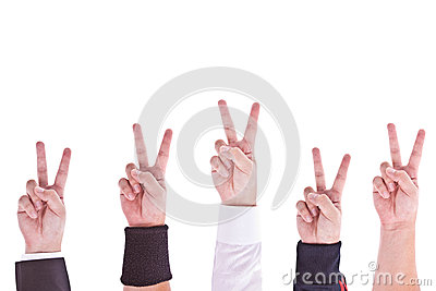 Hands with victory sign
