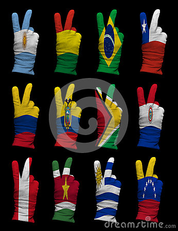 National flags of South America ,victory sign