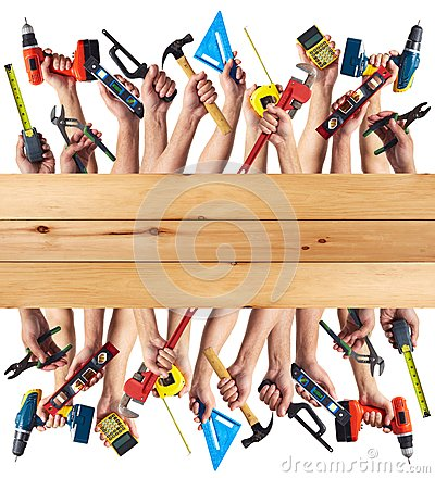 Free Hands With DIY Tools. Royalty Free Stock Image - 35582026