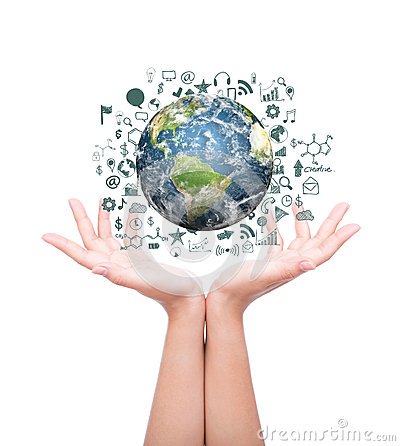 Free Hands With Earth With Drawing Business Graph And Business Objects Stock Image - 40734871