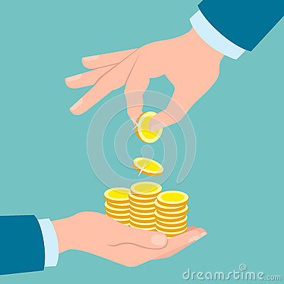 Free Hands With Golden Coins. Stock Images - 73523974