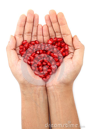 Free Hands With Pomegranate Seeds Stock Photo - 34714750