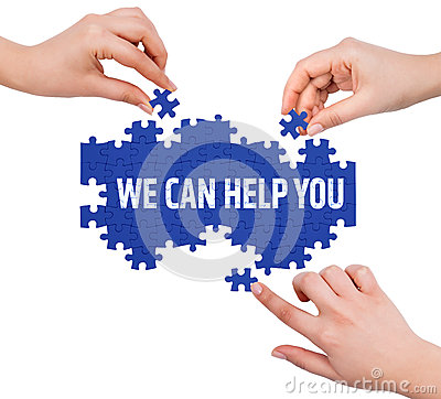 Free Hands With Puzzle Making WE CAN HELP YOU Word Royalty Free Stock Image - 53699566
