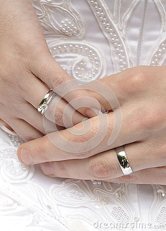 Free Hands With Wedding Rings Royalty Free Stock Photography - 30163377