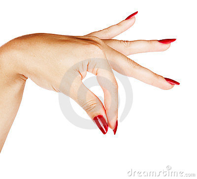Hands of woman with red manicure