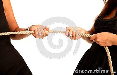 Hands women pull rope
