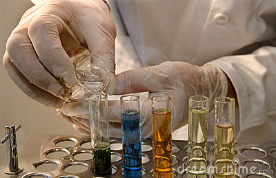 Hands by the work in laboratory