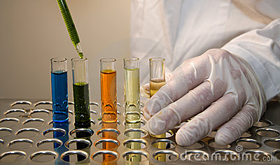 Hands by work in laboratory