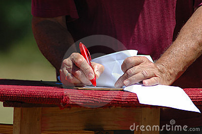 Hands writing