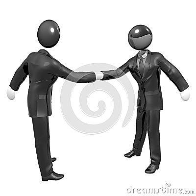 Handshake 3d businessman icon with tuxedo