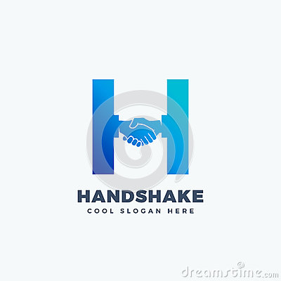Handshake Abstract Vector Sign, Symbol or Logo Template. Hand Shake Incorporated in Letter H Concept. Vector Illustration