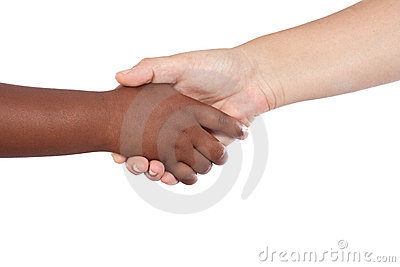 Handshake between an African-American and Caucasia