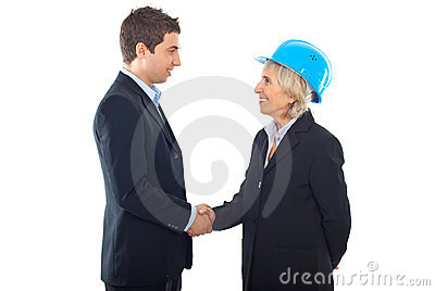 Handshake architect woman and  businessman