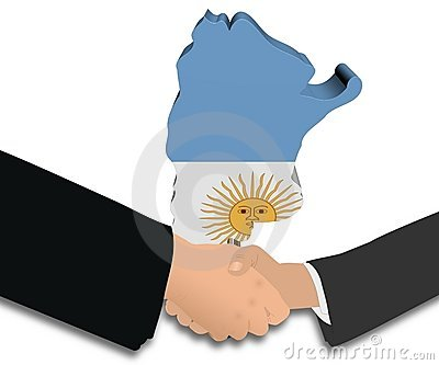 Handshake with Argentina map flag illustration