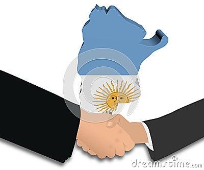 Handshake with Argentina map flag illustration