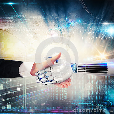 Free Handshake Between Human And Robot. 3D Rendering Stock Photo - 80173750