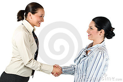 Handshake business woman teamwork