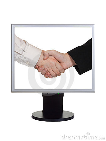 Handshake on computer screen